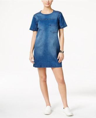 Calvin Klein Jeans Studded Denim Shift Dress $128 thestylecure.com