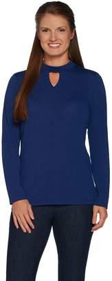 Denim & Co. Heavenly Jersey Keyhole Neck Long Sleeve Top