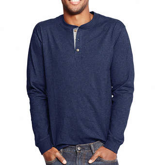 Hanes Long Sleeve Henley Shirt
