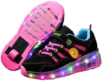 Ufatansy CPS Kids Girls Boys Light up Wheels Roller Shoes Skates Sneakers (, Pink White)