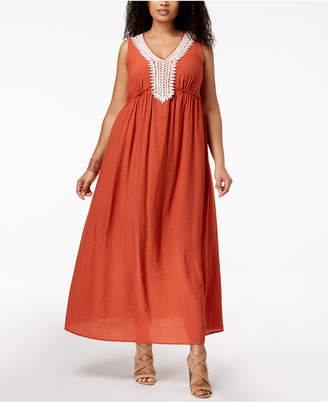 NY Collection Plus & Petite Plus Size Crochet-Trim Crinkle Maxi Dress
