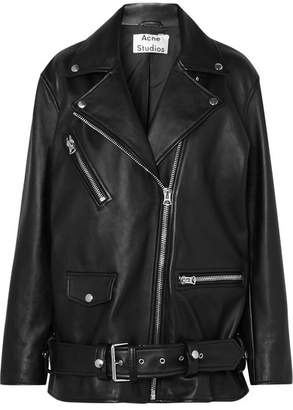 Acne Studios Myrtle Oversized Leather Biker Jacket - Black