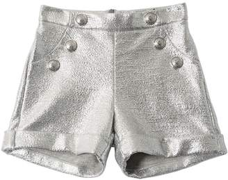 Balmain Laminated Cotton Sweat Shorts W/ Buttons