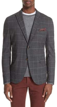 Eleventy Trim Fit Stretch Plaid Wool Sport Coat