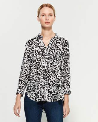 Grand & Greene Grey & Black Long Sleeve Cheetah Print Shirt