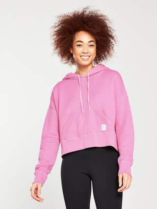 Converse Essentials Cropped Pullover Hoodie - Pink