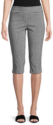 Isaac Mizrahi IMNYC Slimming Gingham Capri Pull On Pants