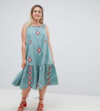 Asos DESIGN Curve embroidered trapeze midi dress