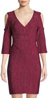 Herve Leger Pointelle Cold-Shoulder Cocktail Dress