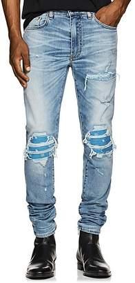 Amiri Men's MX1 Bandana-Inset Slim Jeans - Lt. Blue