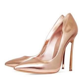 Chris-T Women's Sexy Pointed Toe High Heel Slip On Stiletto Pumps Metal Metallic Sleek Heels Basic Shoes