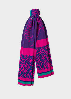 Paul Smith Women's Violet And Pink 'Dino' Wool Scarf