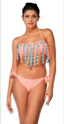 Argento Fringe bandeau top bikini