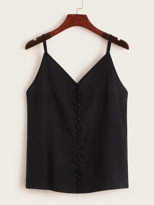 Shein Covered Button Front Chiffon Cami Top