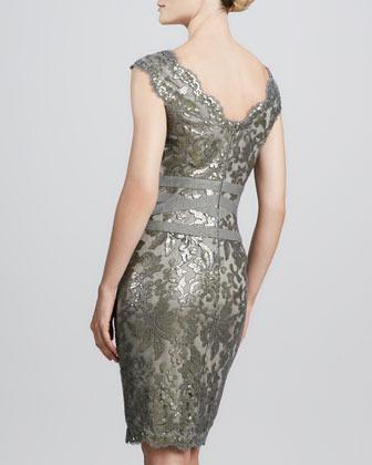 Tadashi Shoji Lace Overlay Cocktail Dress, Smoked Pearl 2