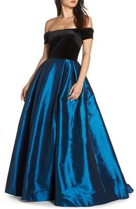 Mac Duggal Off the Shoulder Velvet & Taffeta Ballgown