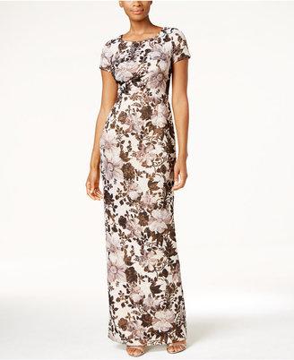 Adrianna Papell Metallic Floral Matelassé Column Gown $249 thestylecure.com