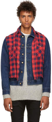 R 13 Red and Blue Refurbished DenimPlaid Shirt Trucker Jacket