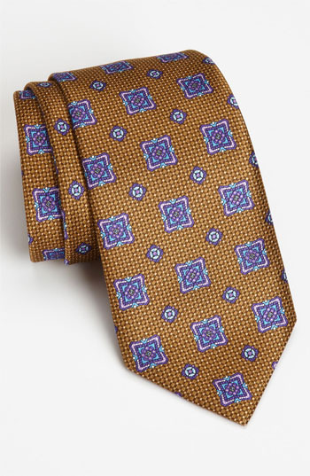 David Donahue Woven Silk Tie Taupe Regular