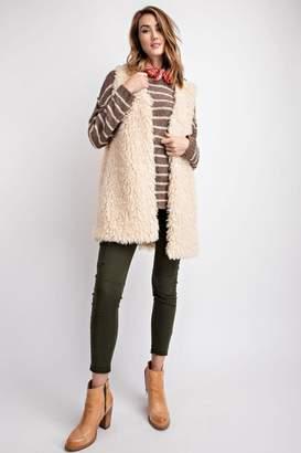 Easel Ivory Faux-Fur Vest