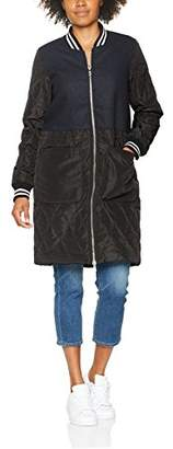 Tom Tailor Women's Fabric Mix Bomber Coat (Real Navy Blue 6593), Small
