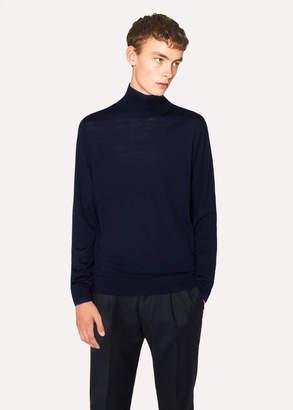 Paul Smith Men's Navy Funnel-Neck Merino Wool Sweater