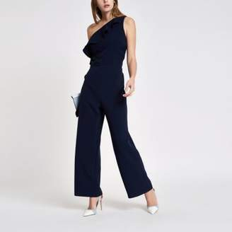 River Island Womens Navy frill one shoulder jumpsuit