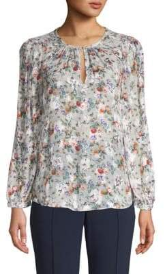 Rebecca Taylor Ruby Floral Silk-Blend Top