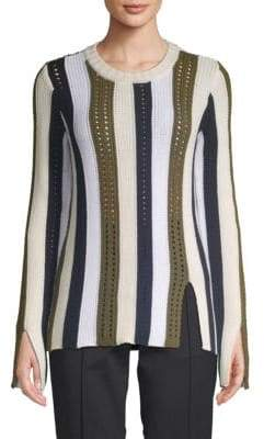 Derek Lam Striped Pointelle Sweater
