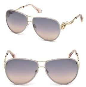 Roberto Cavalli Monogram Crest Aviator Sunglasses