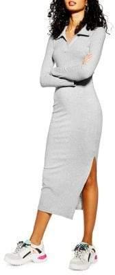 Topshop Ribbed Long Sleeve Midi Shirt Dress