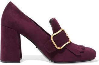 Prada - Buckled Fringed Suede Pumps - Burgundy $790 thestylecure.com