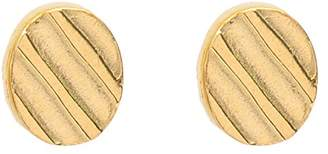 Wouters & Hendrix Women's Gold Plated Sterling Silver Small Round Etched Stripes Stud Earrings