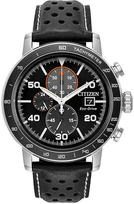 Citizen Eco-Drive Men's Chronograph Black Leather Strap Watch 44mm