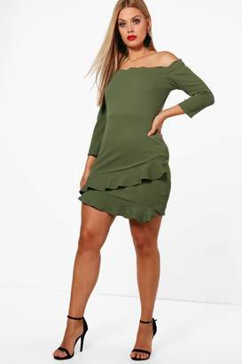 boohoo Plus Bardot Frill Hem Dress