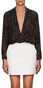 L'Agence Women's Lydia Leopard-Pattern Velvet Draped Blouse-Brown