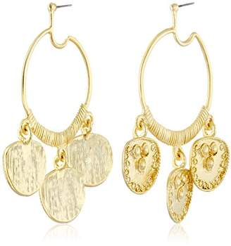 Kenneth Jay Lane Plated Hoop Drop Earrings