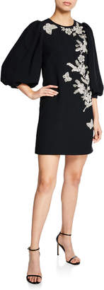 Andrew Gn Crystal-Embroidered 3/4-Sleeve Cady Cocktail Dress