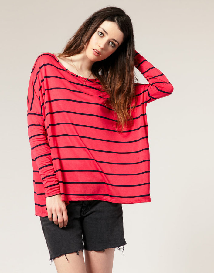 ASOS Stripe Square Skinny Sleeve Top