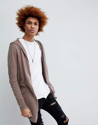 Asos Knitted Hooded Cardigan With Curved Hem In Brown
