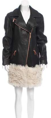 Cédric Charlier Leather Shearling-Accented Coat