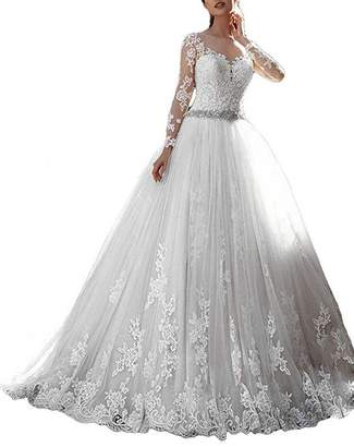 LoveMyth Women's Lace Appliques Ball Gown Sweep Train Empire Princess Wedding Dress