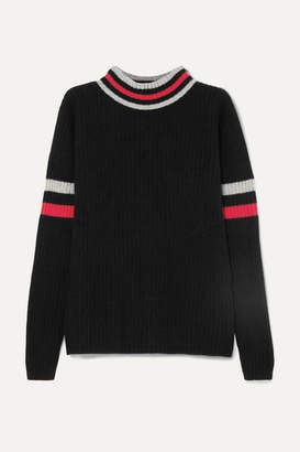The Elder Statesman Odyssey Striped Ribbed Cashmere Turtleneck Sweater - Black