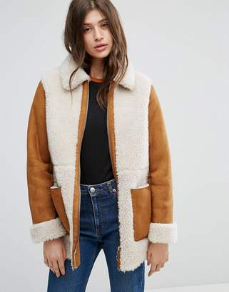 Asos DESIGN Faux Shearling Coat