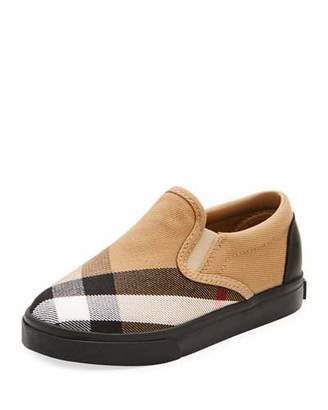 Burberry Linus Check Canvas Slip-On Sneaker, Toddler Sizes 7-10