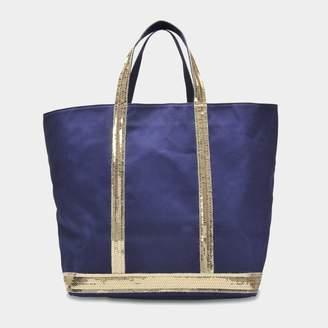Vanessa Bruno Canvas and Sequins Medium + Tote Bag in Indigo and Gold Cotton