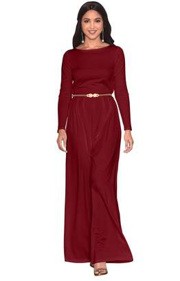 Koh Koh Petite Womens Long Sleeve Sleeves Wide Leg with Belt Formal Elegant Cocktail Party Fall Pant Suit Pants Suits Jumpsuit Jumpsuits Romper Rompers, S 4-6