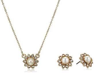 Marchesa Women's Cream Silk Pearl Necklace Earring Jewelry Set