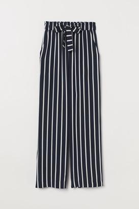 H&M Wide-cut Paper-bag Pants - Blue