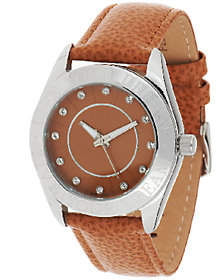 Steel by Design Stainless Steel Live Your Dream Round Case Leather Strap Watch